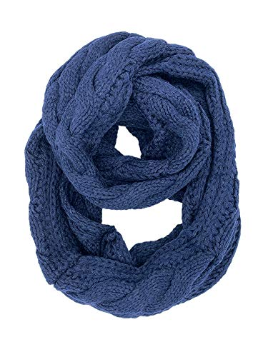 YOUR SMILE - Premium Women Ribbed Thick Winter Warm Cable Knit Infinity Circle Loop Cowl Scarf,navy blue