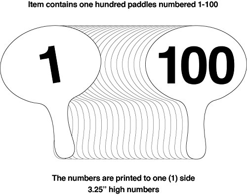 1-100, 2mm Cartonplast, Better Bidders Oval shape Auction Paddle Set, 1-piece white plastic … by Better Bidders