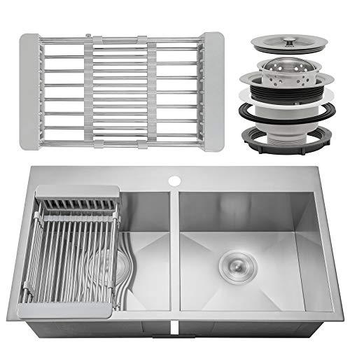 Firebird Drop-In Topmount Double Basin Handmade 18 Gauge Stainless Steel Kitchen Sink Faucet Hole w/Drain & Adjustable Dish Tray (33 Inch 50/50)