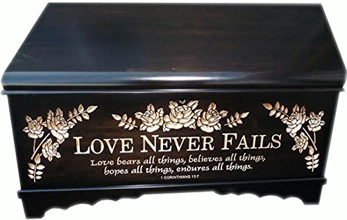 Allamishfurniture Hope Chest Oak Onyx Stain Reverse Carved Love Never Fails Amish