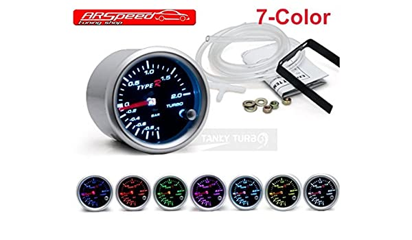 Type R - Indicador de presión de carga (hasta 2 bares, 7 colores, 52 mm): Amazon.es: Coche y moto
