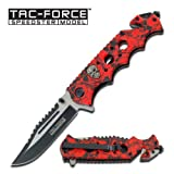 Tactical Rescue Assisted Red Skull Folding Knife 4.5″closed
