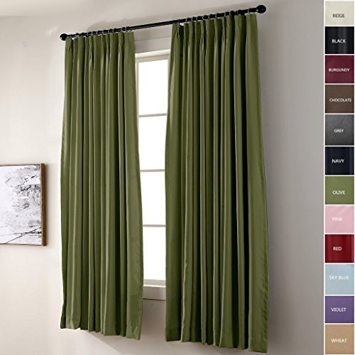 Goblet Pleat Drapery - ChadMade Pinch Pleated Curtain 52W x 96L Inch Solid Thermal Insulated Blackout Patio Door Panel Drape For Traverse Rod and Track, Green (1 Panel)