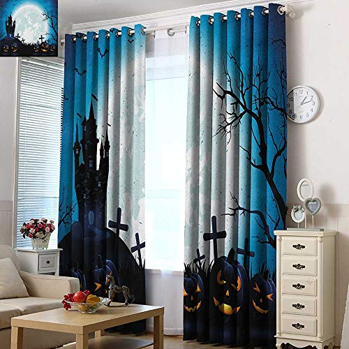 Acelik Curtains for Bedroom Halloween Spooky Concept with Scary Icons Old Celtic Harvest Figures in Dark Image Holiday Print Blackout Window Curtain 2 Panel 84