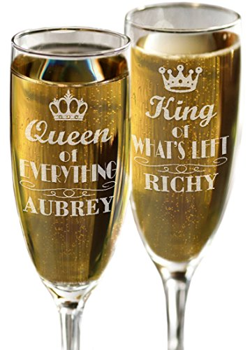 (Queen of Everything King of Whats Left Personalized Set of 2 Funny Celebration Champagne Glasses Funny Bride and Groom Wedding Anniversary Gift)