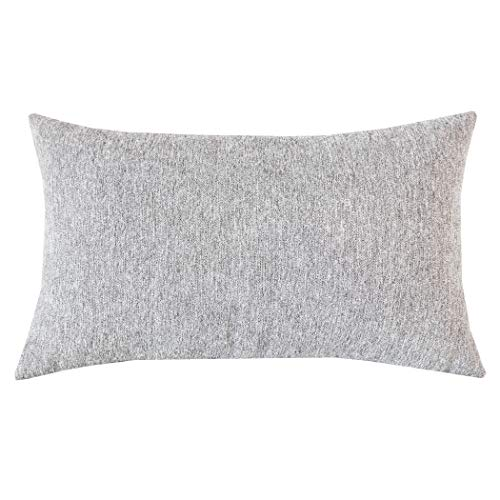 SLOW COW Velvet Soft Solid Decorative Lumbar Throw Pillow Cover Pillowcase Rectangular Pillow Cover Cushion Cover for Bed Couch Sofa 12 x 20 Inches, Grey Mixed Cream (Rectangular Pillows)