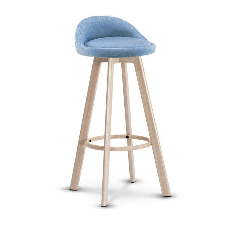 Bleu 83cm MEIDUO Durable Selles Tabourets de bar en lin avec aspect en tissu Cuisine Cuisine Tabouret de bar avec pieds en bois 5 couleurs, 3 tailles pour intérieur extérieur (Couleur   Bleu, taille   72cm)