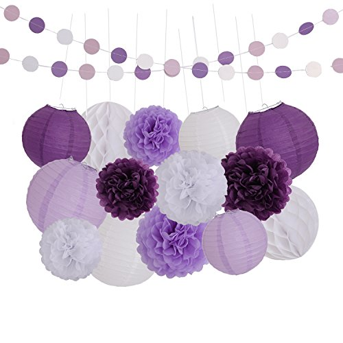 LyButty 16 Pcs Dark Purple Lavender White Tissue Paper Pom Poms Flowers Tissue Paper Lanterns Honeycomb Balls Polka Dot Paper Garland Birthday Party Wedding Baby Shower Decorations]()