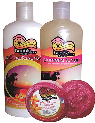Hawaiian Bubble Shack Loofah Soap Body Wash & Body Lotion Trio Gift Set Plumeria Sunset (Dish Soap Sunset)