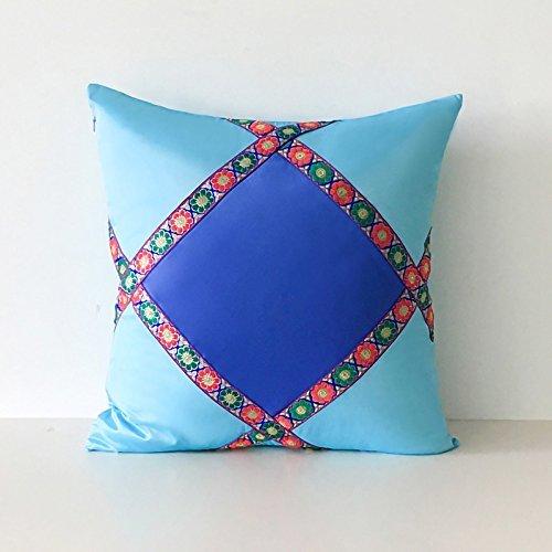 HOMEE I Love the Artist'S Original Mediterranean Living Room Blue Tower Poplin Stitching of Minimalist Solid Color Pillow Sofa Cushion ,30X50Cm, Birds Blue,Skyblue,60X60cm