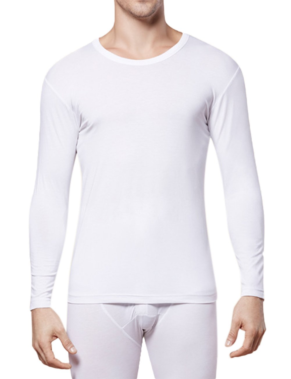 Yiwa Men's Round Neck Long Sleeve Solid Color Thin Bottoming Thermal Underwear Top