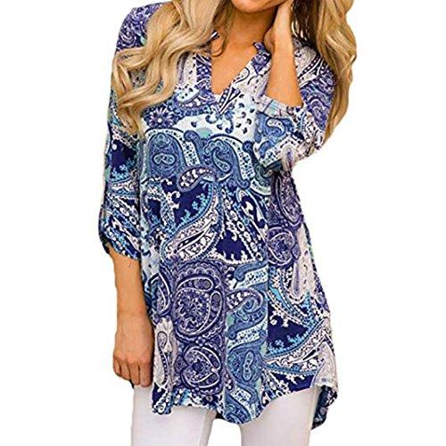 Bleu Chemisier Taille Grande T Blouse Tops Sexy A ImprimE Chic Longue Femme Manche Fleurs Col Haut Casual Shirt V wIX1UEx