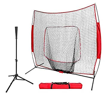 ZENY Portable Baseball Softball Practice Net 7 x7 Batting Tee Foldable Tee Tripod Stand Tee for Practice Hitting,Pitching,Batting,Fielding,Backstop,Training Aid, Large Mouth Sports Net