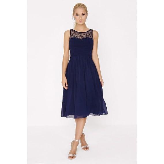 Little Mistress Womens/Ladies Chiffon Diamante Prom Dress (14) (Navy)