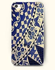 OOFIT Apple iPhone 5 5S Case Moroccan Pattern ( Dark Blue Geometry Flowers and Butterflies )