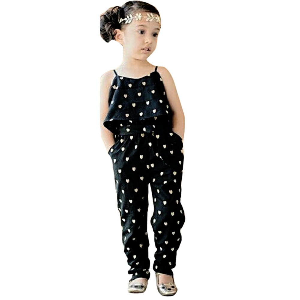Chinatera Little Girls Heart Print Ruffle Tank Romper Jumpsuits with Belt (2-3Y, Black+White Long)