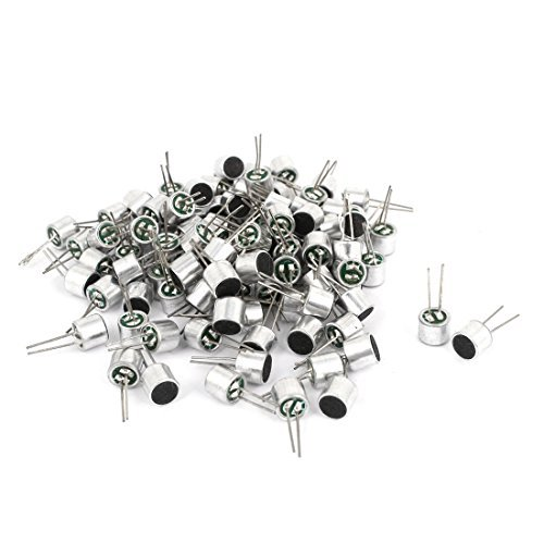 100 PCS 2 terminais MIC Cápsula electreto microfone de condensador 6 x 5mm