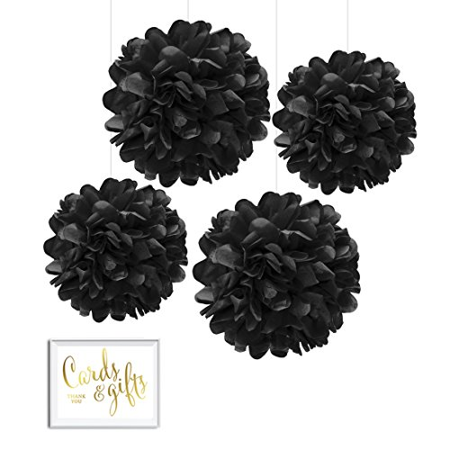 Andaz-Press-Tissue-Paper-Pom-Poms-Hanging-Decorations-with-Free-Gold-Card-Gifts-Party-Sign-Black-8-inch-and-10-inch-4-Pack-Colored-Birthday-Party-Supplies