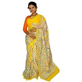 Kheyali Boutique Cotton Madhubani Print Yellow Saree For Women's