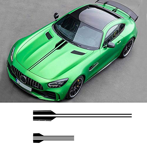 carado Racing Body Side Stripe Skirt Roof Hood Decal Sticker for BEZN AMG A C E G Class Concept Coupe CLS Vinyl Sport Badge Car Styling Accessories Black 1 Pair