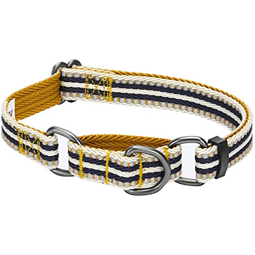 Blueberry Pet 8 Colors 3M Reflective Multi-Colored Stripe Safety Training Martingale Dog Collar, Olive and Blue-Gray, Large, Heavy Duty Adjustable Collars for Dogs