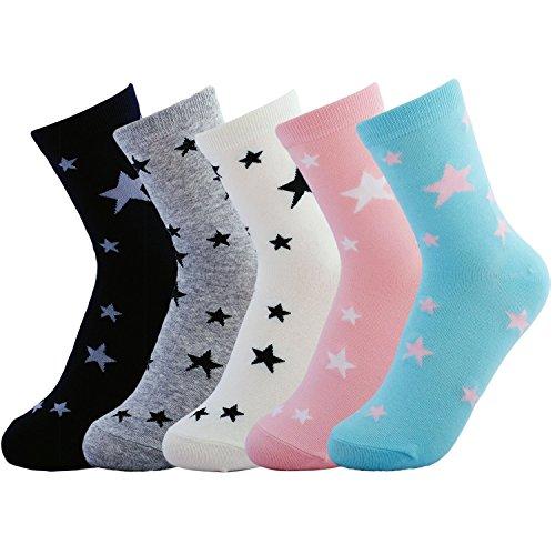 JOYCA and Co. 5 Pairs Womens Cute Colorful Fashion All Season Cotton Crew Socks (w106-star) One Size