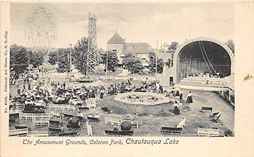Chautauqua Lake, New York, NY, USA Postcard The Amusement Grounds, Celoron Park Writing on back