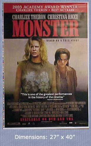 Monster Charlize Theron & Ricci Movie Poster