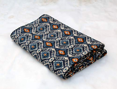 (Bhawana Handicrafts Blue Ikat Design Kantha Quilt Queen Size Kantha Blanket Handmade Kantha Bedspread Indian Kantha Throw Traditional Kantha Bed Cover )
