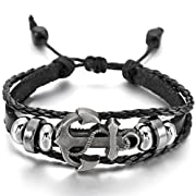 Amazon Lightning Deal 89% claimed: Black Silver Alloy Genuine Leather Bracelet Bangle Cuff Cord Anchor Surfer Wrap Adjustable