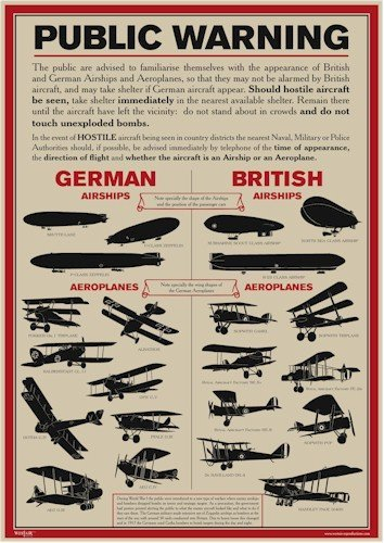 World War 1 Public Warning Aircraft Identification Poster - A3 by Westair