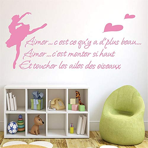 Eraty Wall Stickers Art DIY Removable Mural Room Decor Mural Vinyl French Quote Aimer Ç'Est Ç'Qu'Y A D'Plus Beau for Living Room Bedroom