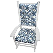 Barnett Products Rocking Chair Cushions - Bali Blue Ikat - Seat Cushion and Back Rest - Latex Foam Fill, Reversible- Made in USA (Extra-Large)