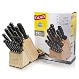 GLAD GLD-79053 Kitchen 15 pc Pro Euro Series Knife Set, Includes Shear, Sharpening Tool & Block | High Carbon Stainless Steel with Satin Finish, One Size