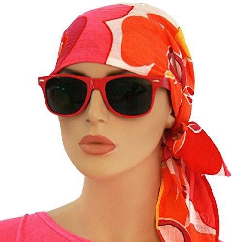 Orange Pink Colorful Easy Tie Pre-tied Scarf Chemo Cap Spring Summer for Women Cancer Patients, Alopecia, Hijab