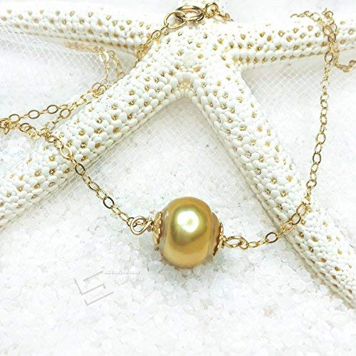 Genuine South Sea Pearl Choker, Saltwater Golden Pearl And 14K Gold Filled Floating Necklace, Baroque Golden Pearl Stackable Necklace