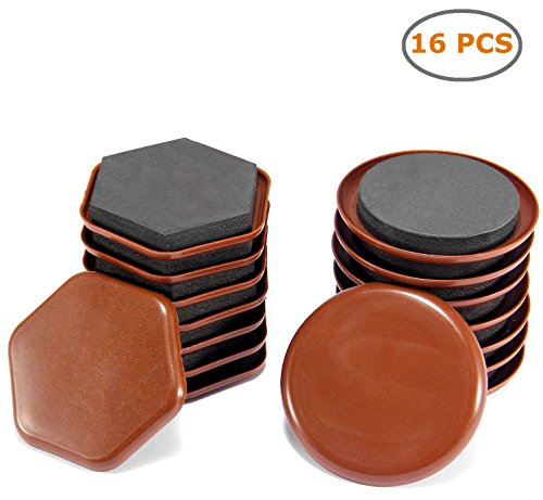Reusable Furniture Sliders, Ohuhu 16 PCS Furniture Moving Kit for Carpeted Surfaces – Good Helper Mover for Heavy Furniture Quickly & Easily, 3.3 Round (8pcs) & 2.9 Hexagon (8pcs)
