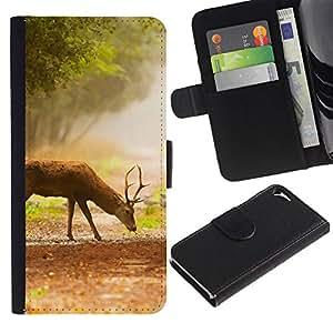 EJOY---Tirón de la caja Cartera de cuero con ranuras para tarjetas / Apple Iphone 5 / 5S / --Comer ciervos