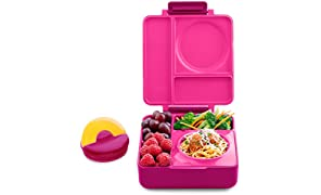 OmieBox Bento Lunch Box With Insulated Thermos For Kids, Pink Berry