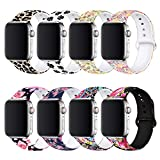 BMBEAR Floral Bands Compatible with Apple Watch Band 38mm 40mm 42mm 44mm Soft Silicone Fadeless Pattern Printed...