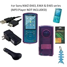 6 Items Accessories Bundle Kit for Sony Walkman NWZ-E463, NWZ-E464 and NWZ-E465 MP3 Player: Includes (Pink) Soft Gel Thermoplastic Polyurethane TPU Skin Case Cover, LCD Screen Protector, USB Wall Charger, USB Car Charger, 2in1 USB Cable and Light Blue Fishbone Style Keychain
