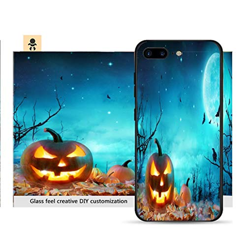 iPhone 7p / 8p Ultra-Thin Phone case Pumpkin Glowing at Moonlight in The Spooky Forest Halloween Scene Resistance to Falling, Non-Slip, Soft, Convenient Protective -