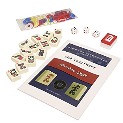 American Mahjong Set by Linda Li - Black Paisley Soft Bag - 166 Ivory Colored Engraved Tiles, 4 All-In-One Rack/Pushers: Toys & Games