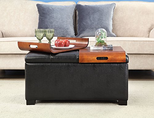 Convenience Concepts Storage Ottoman with Trays, Black