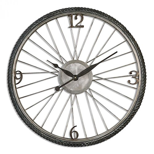 Uttermost 06426 6426 Spokes Aged Wall Clock, Silver Champagne
