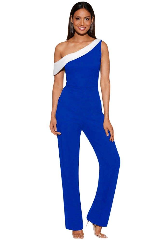 BaronHong Colorblock One-Shoulder Jumpsuit(Blue,L)