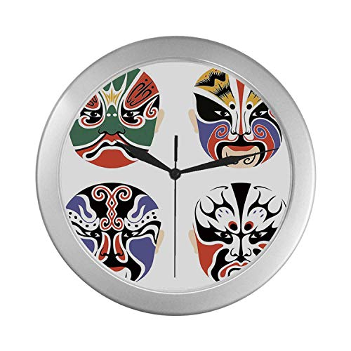 C COABALLA Kabuki Mask Decoration Simple Silver Color Wall Clock,Traditional Chinese Cultural Opera Mask Set Collection Asian Tribal Decorative for Home Office,9.65