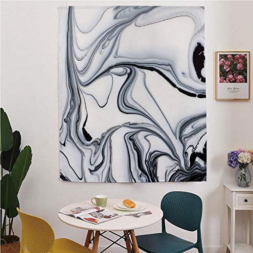 (Marble Blackout Window curtain,Free Punching Magic Stickers Curtain,Trippy Mix of Colors with Unusual Forms Creative Paintbrush Style Image Decorative,for Living Room,study, kitchen, dormitory, Hotel,)