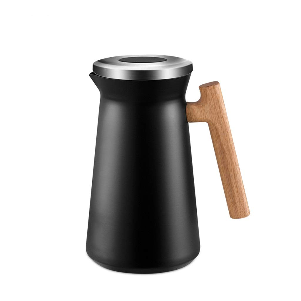 TEA TABLE 1L Insulation Pot, Household Thermos, Large Capacity Stainless Steel Kettle, Hot and Cold Drinks/Tea Cups Or Coffee Bottles 24 Hours Hot (Color : Black) by TEA TABLE