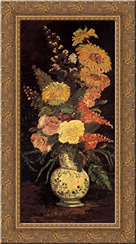- Vase with Asters, Salvia and Other Flowers 24x14 Gold Ornate Wood Framed Canvas Art by Vincent van Gogh